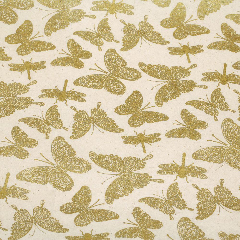 Непалска хартия 60 гр ръчна 51x69 см Printed Butterfly and Dragonfly - натурална със злато