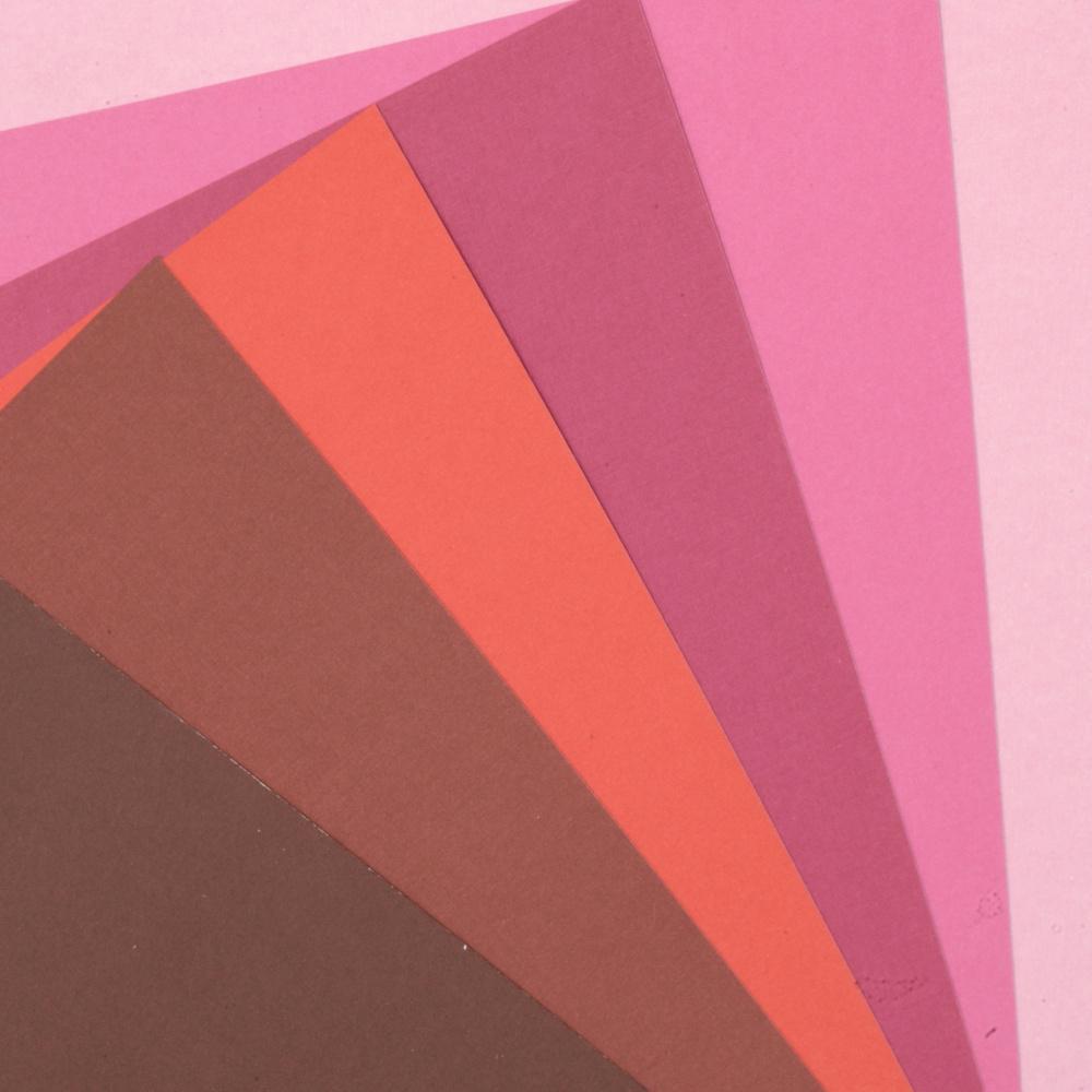 Картон 250 гр/м2 релефен едностранен А4 (21x 29.7 см) Berry Shades 6 цвята розово-червена гама -6 броя