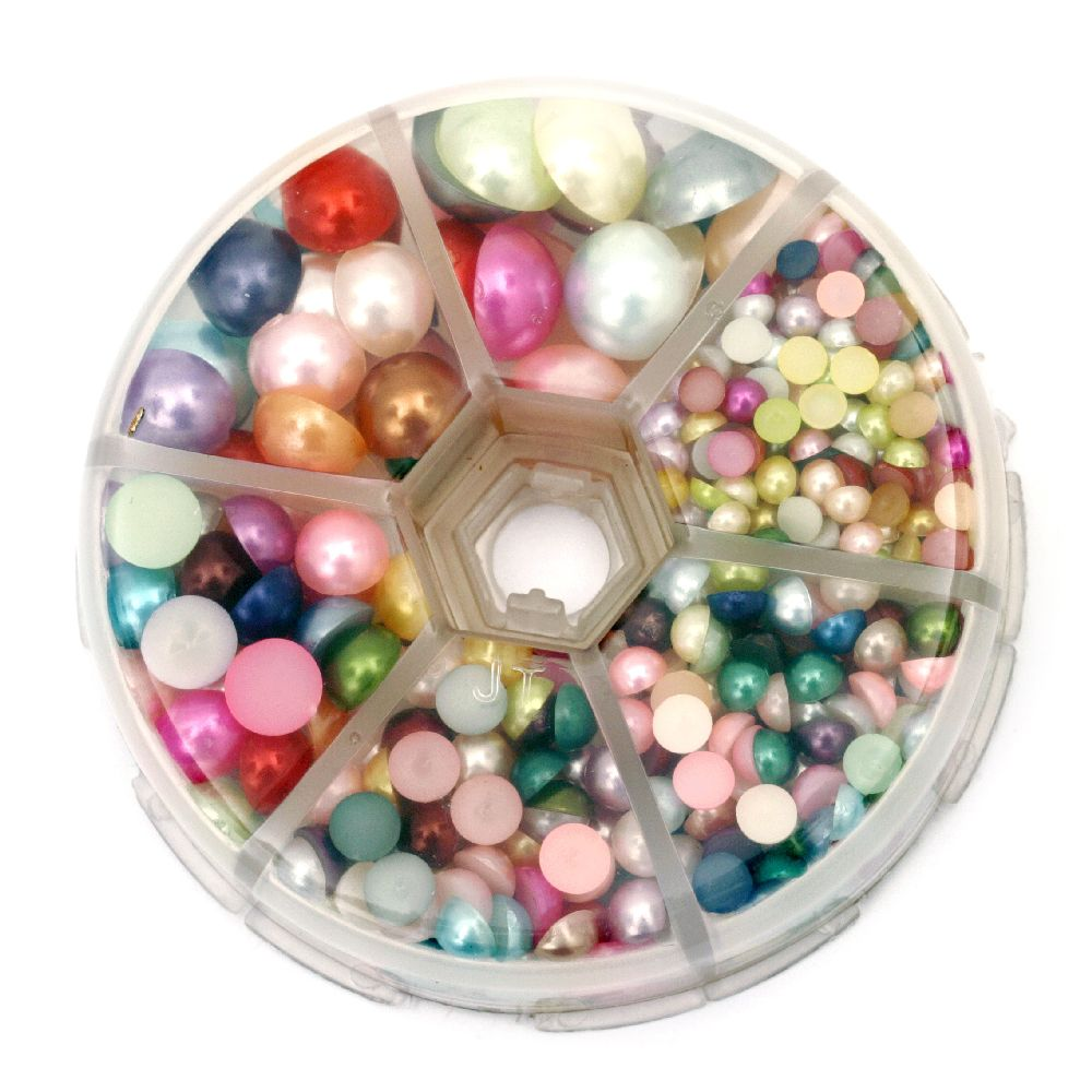 Elements for decoration pearl hemisphere 4 ~ 12x2 ~ 6 mm MIX ~ 760 pieces