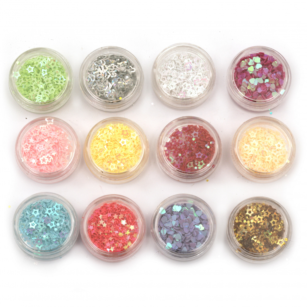 Elements for decoration in a box 30x15 mm mix shapes -12 colors