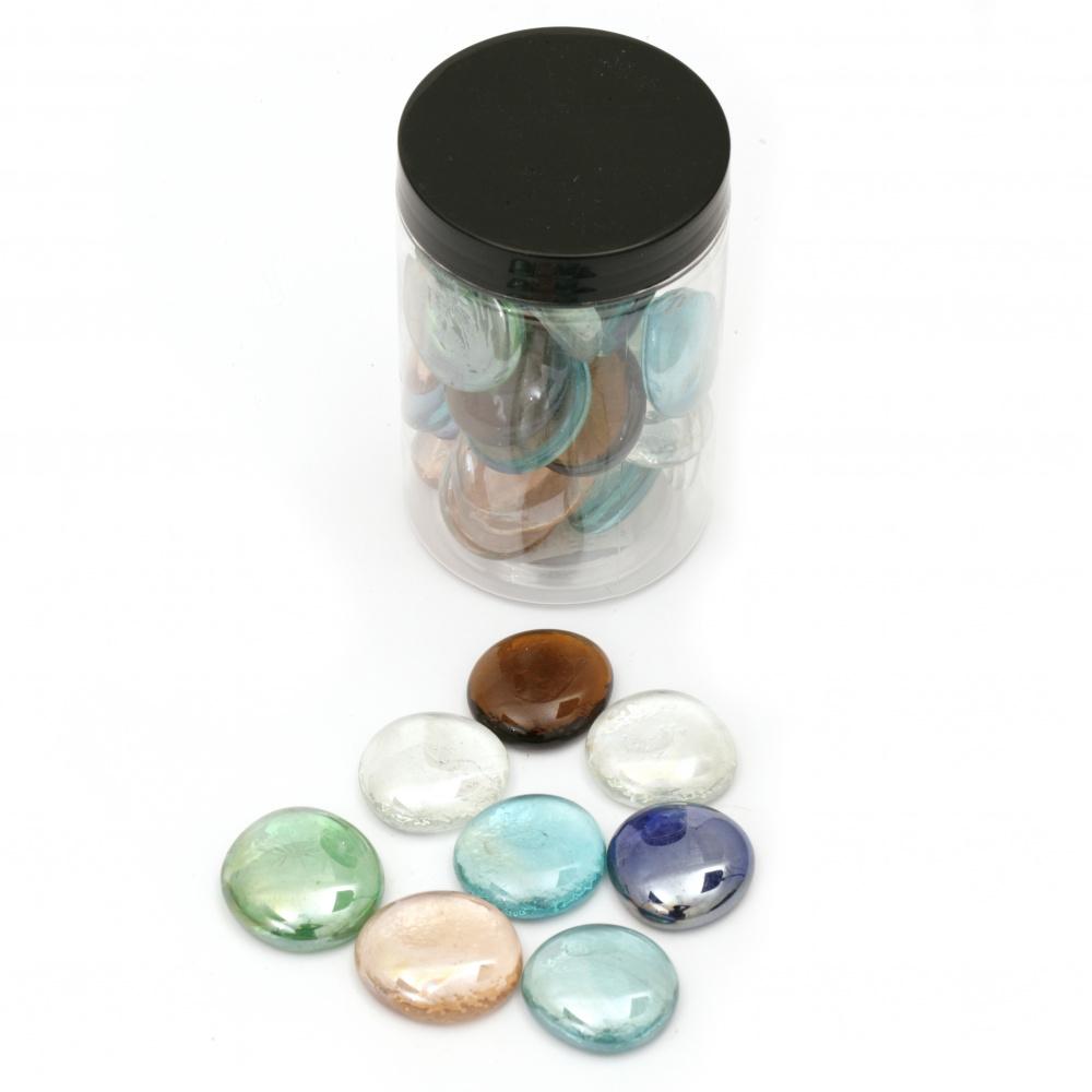 Елементи за декорация стъклени полусфери камъчета 27~33x9~11 мм асорте цветове ~380 грама ~29 броя
