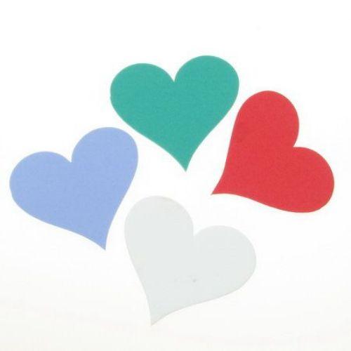 Inimă / foam  material EVA / 56x60x2 mm amestec culori - 4 bucăți