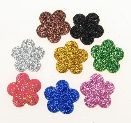 Glitter Flower Embellishment, Mixed Colors EVA Foam 19x2mm 20pcs