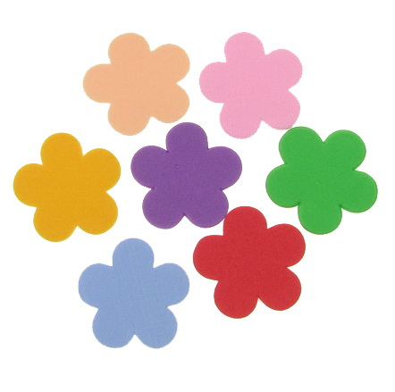 Foam Flowers for Embellishment, Mix Colors /EVA foam material/ 33x2mm - 10 pcs.