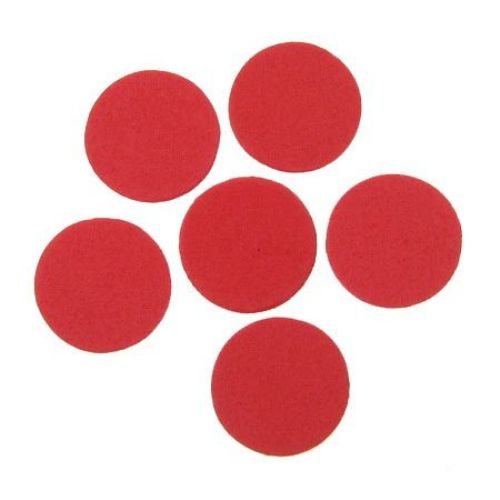 Foam Red Circles for Embellishment, /EVA foam material/, 24x2mm - 20 pcs.