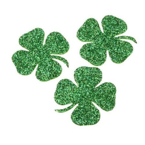 Gliter Clover Embellishment, E.V.A.Foam, Green 38x3mm 10pcs