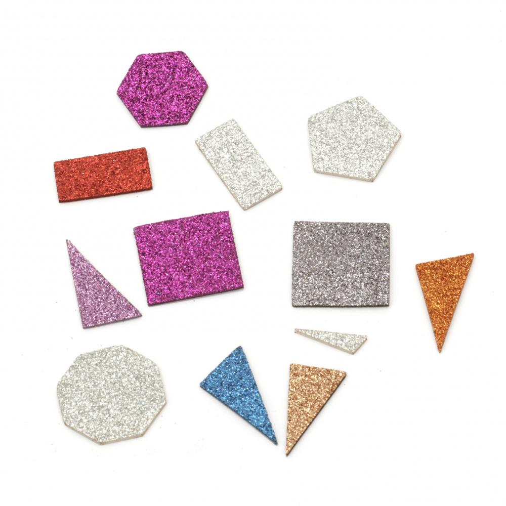 Foam figures /EVA foam material/ with brocade self-adhesive, assorted geometric figures 12~35x12~41x2 mm  12~15 pieces ~3.2 grams