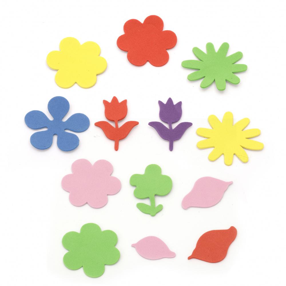 Λουλούδια αυτοκόλλητα, υλικό EVA / μιξ χρώματα και σχέδια -20 τεμαχίων
