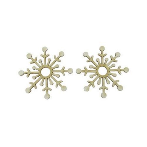 MDF Wooden decoration element snowflake 50 x 1 mm - 2 pieces