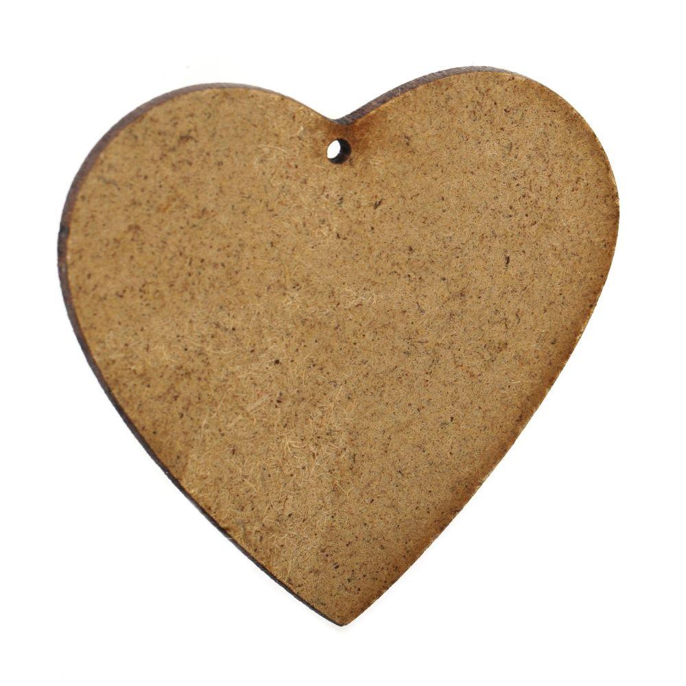 Καρδιά καφέ MDF για διακόσμηση 73x85x2 mm