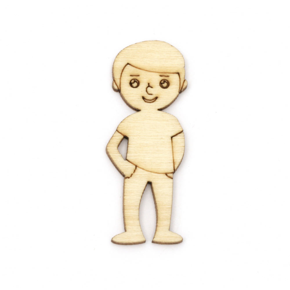 Wooden figurines boy for decoration 50x19x2 mm -10 pieces