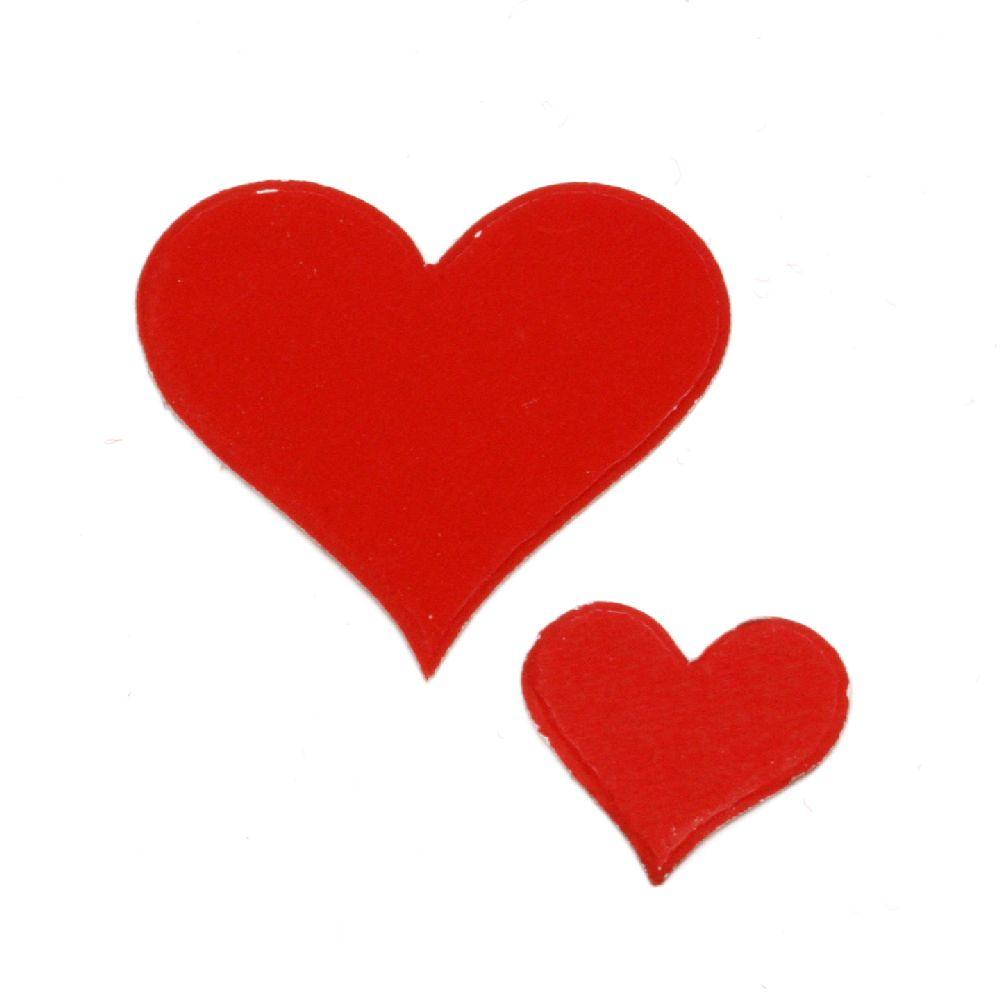 Сърце картон 20x1 мм и 38x1 мм червено-10 броя