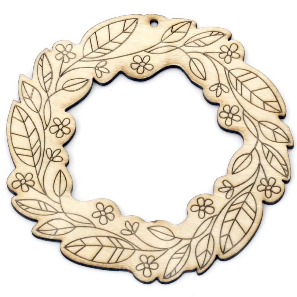 Wooden Embellishment wreath 120x3 mm hole 3 mm