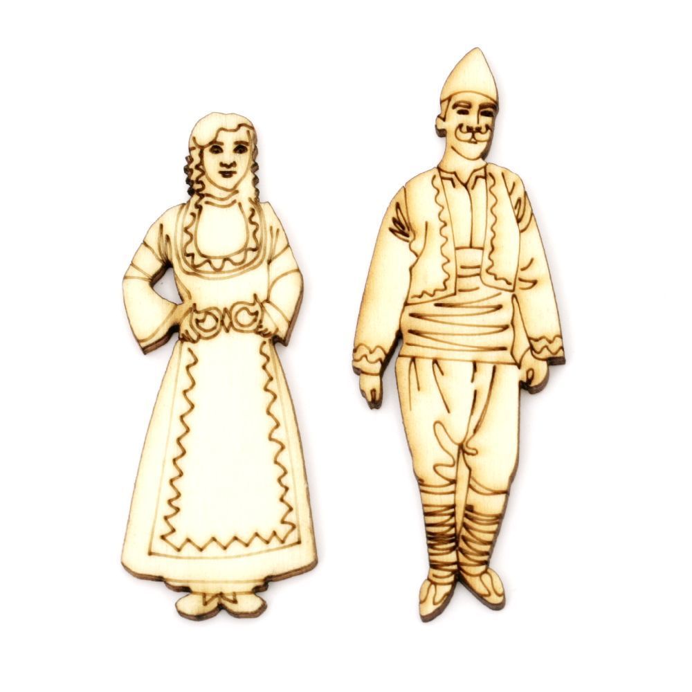 Figurine wooden man 76x28 mm and woman 68x26 mm with folk costumes