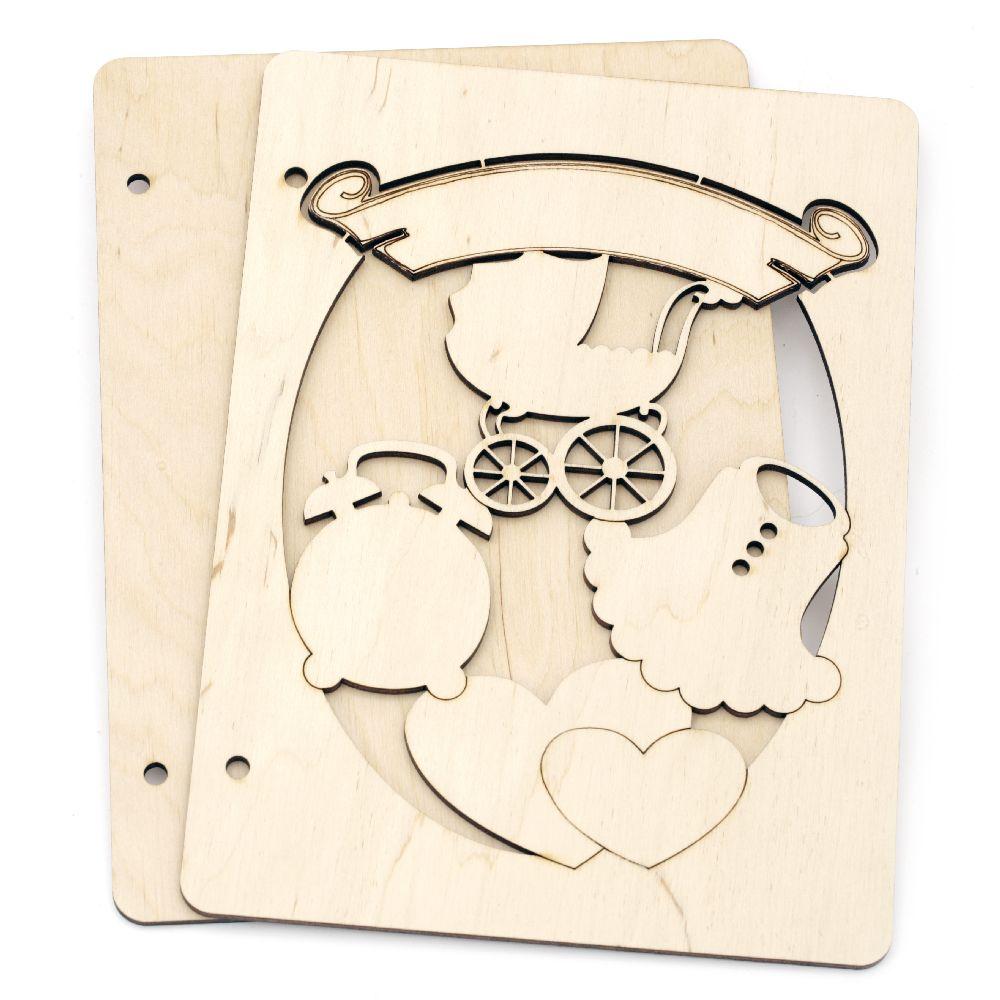 Huse din lemn pentru album de albume № A01 16x22x3 cm
