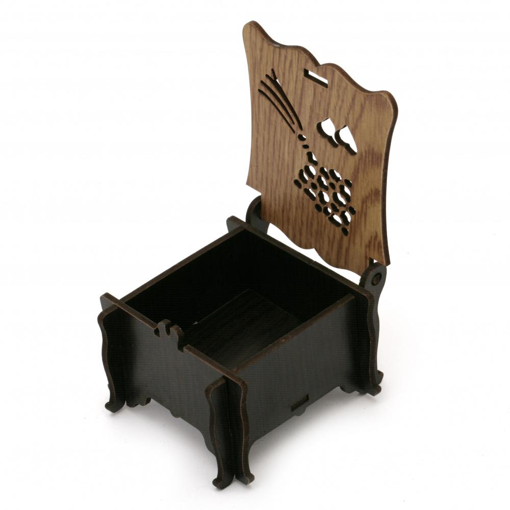 Кутия сгъваема МДФ за декорация 80x65x50 мм кафява