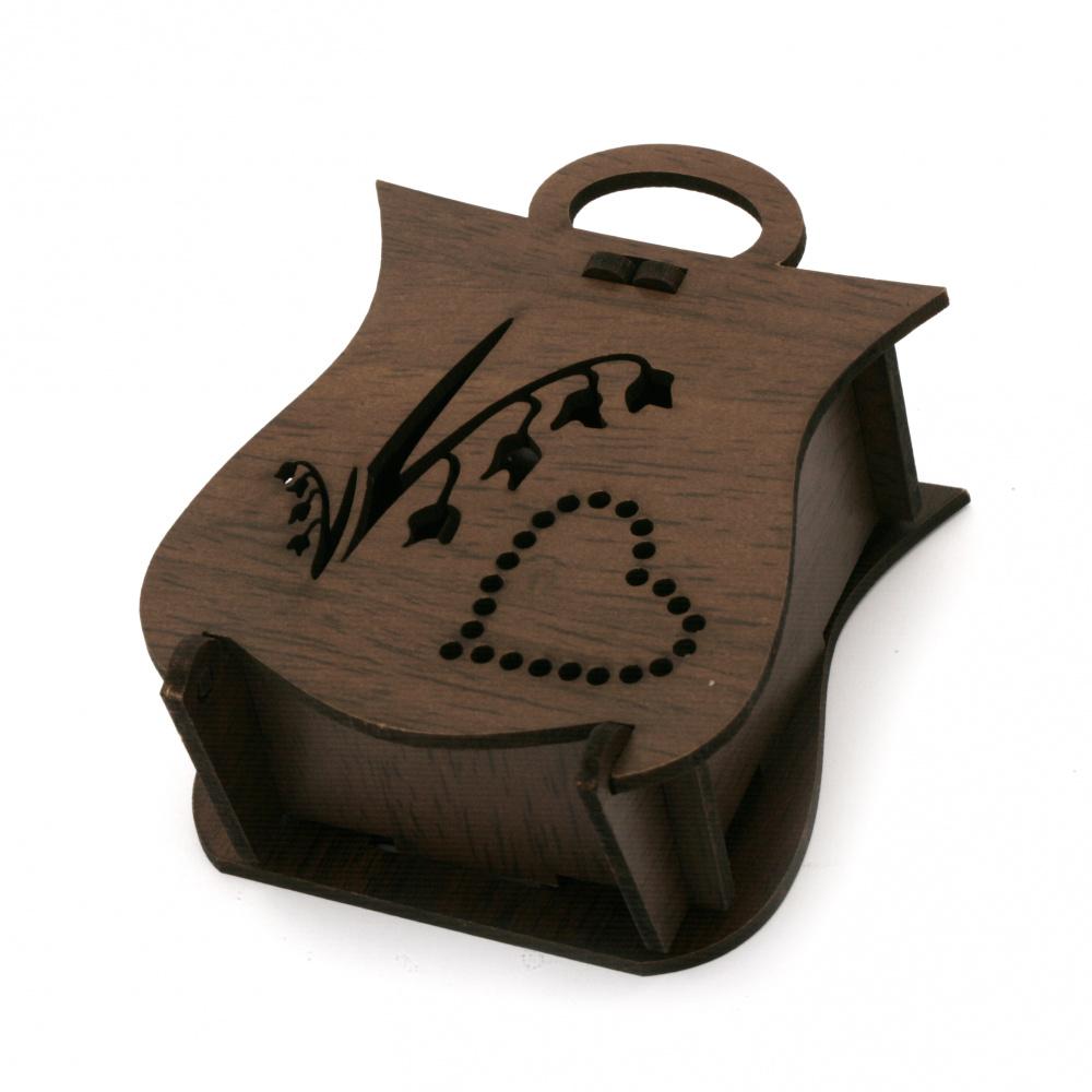 Кутия сгъваема МДФ за декорация 90x70x40 мм кафява