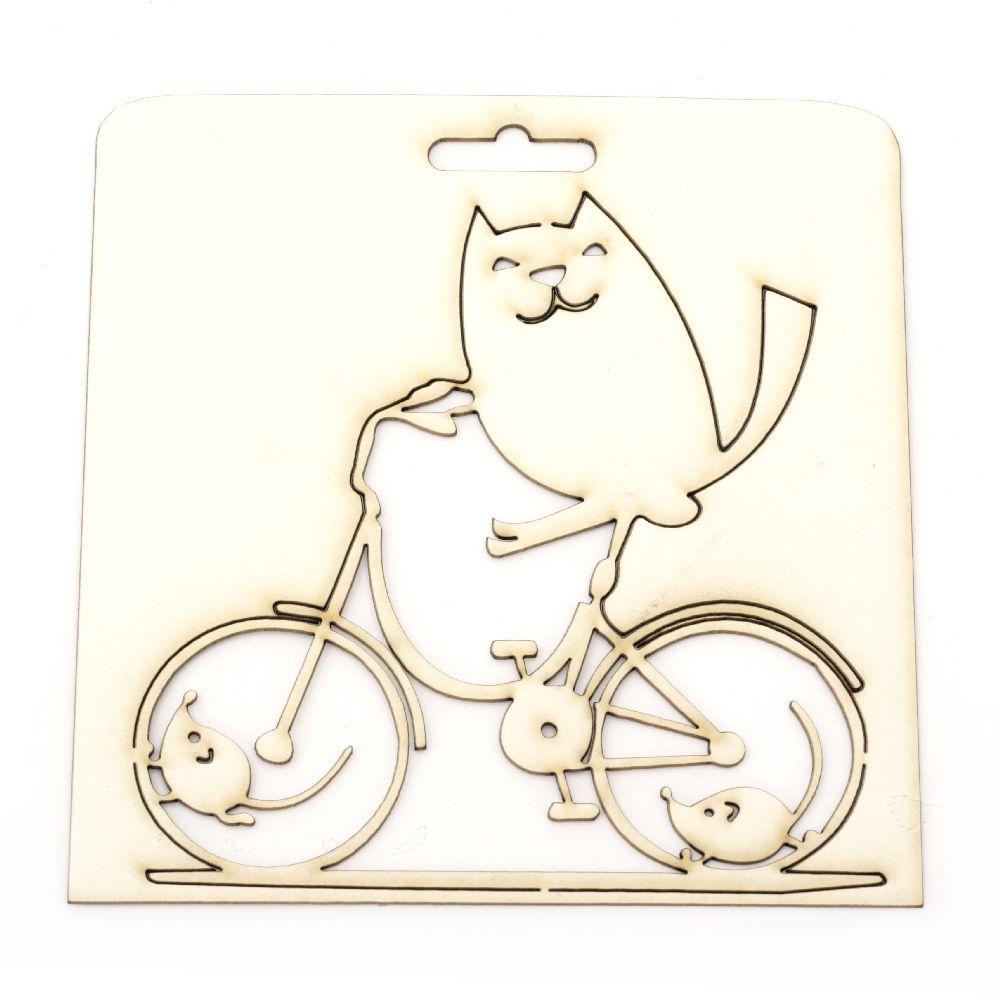 Γατάκι σε ποδήλατο χαρτόνι Chipboard 125x125 mm