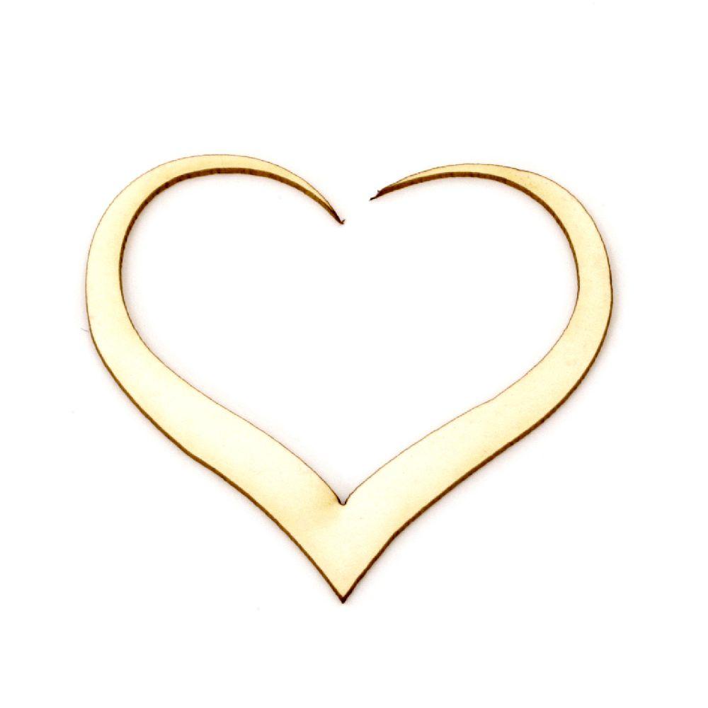 Καρδιά χαρτόνι Chipboard 45x50x1 mm -2 τεμάχια