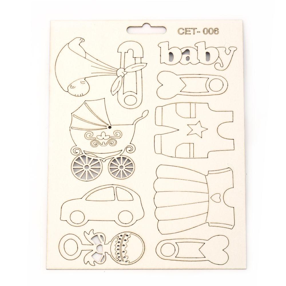 Комплект елементи от бирен картон Сет № 006 бебе