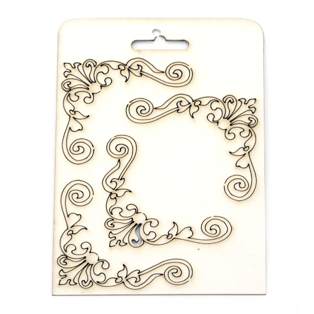 Set of elements of chipboard ornaments, curved corner elements  for albums, scrapbook 7.5 cm