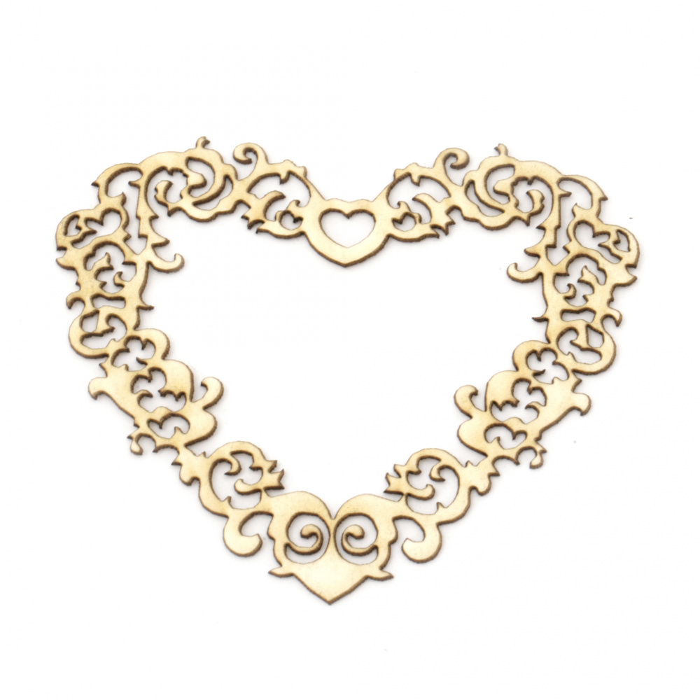 Chipboard heart shaped, openwork element for home decoration 70x55 mm