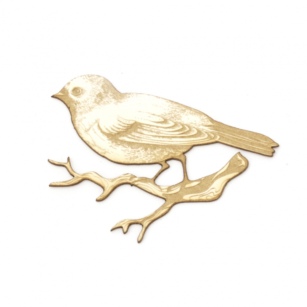 Bird on a branch of chipboard  for albums, various decorations making 50x65 mm