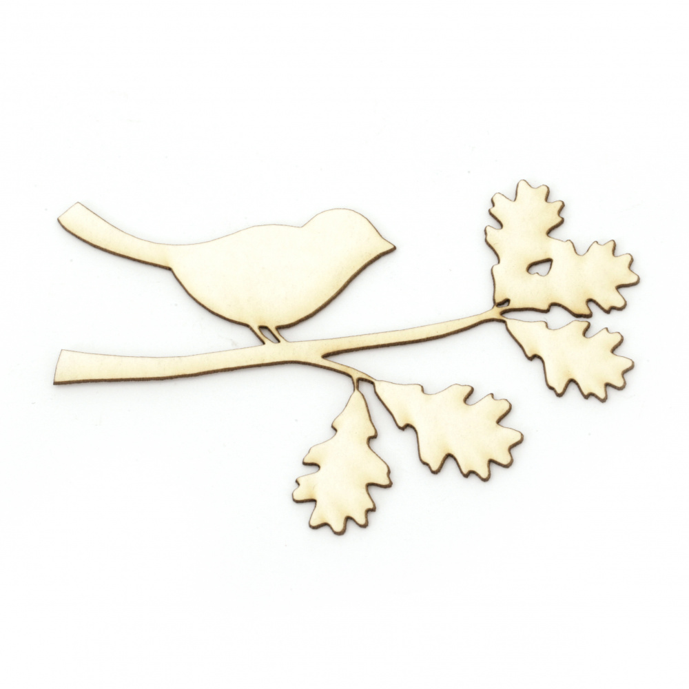 Bird on a branch of chipboard, element for home decoration 55x85 mm