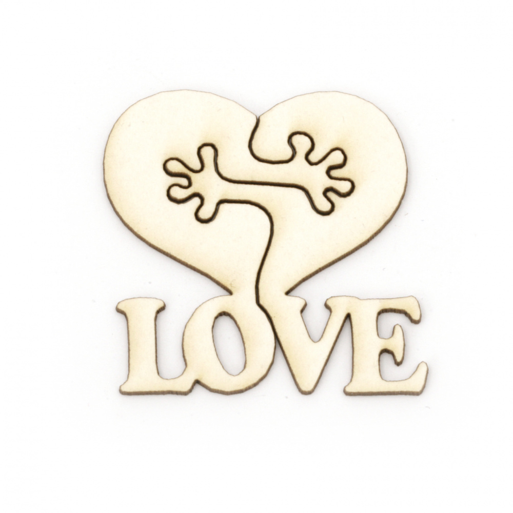 """Heart with the inscription """"LOVE"""" made of chipboard for decoration of cards, albums, boxes 33x33 mm"""