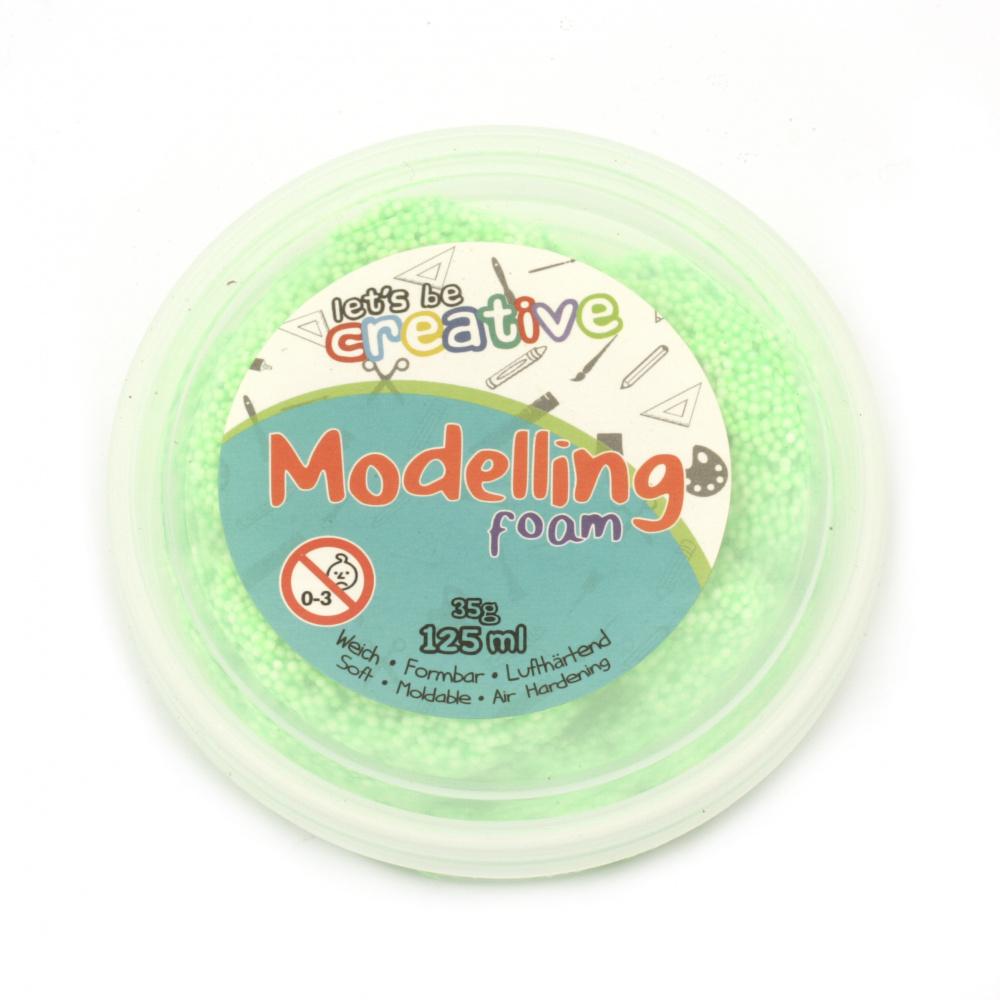 Самосъхнещ моделиращ гел със стиропор цвят зелен неон 125 мл -35 грама