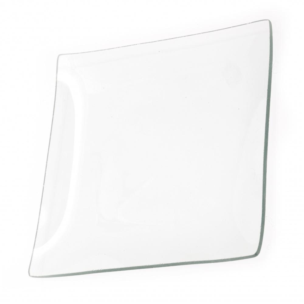 Γυάλινο πιάτο/ βάση για decoupage και διακόσμηση τετράγωνο 19,5 cm