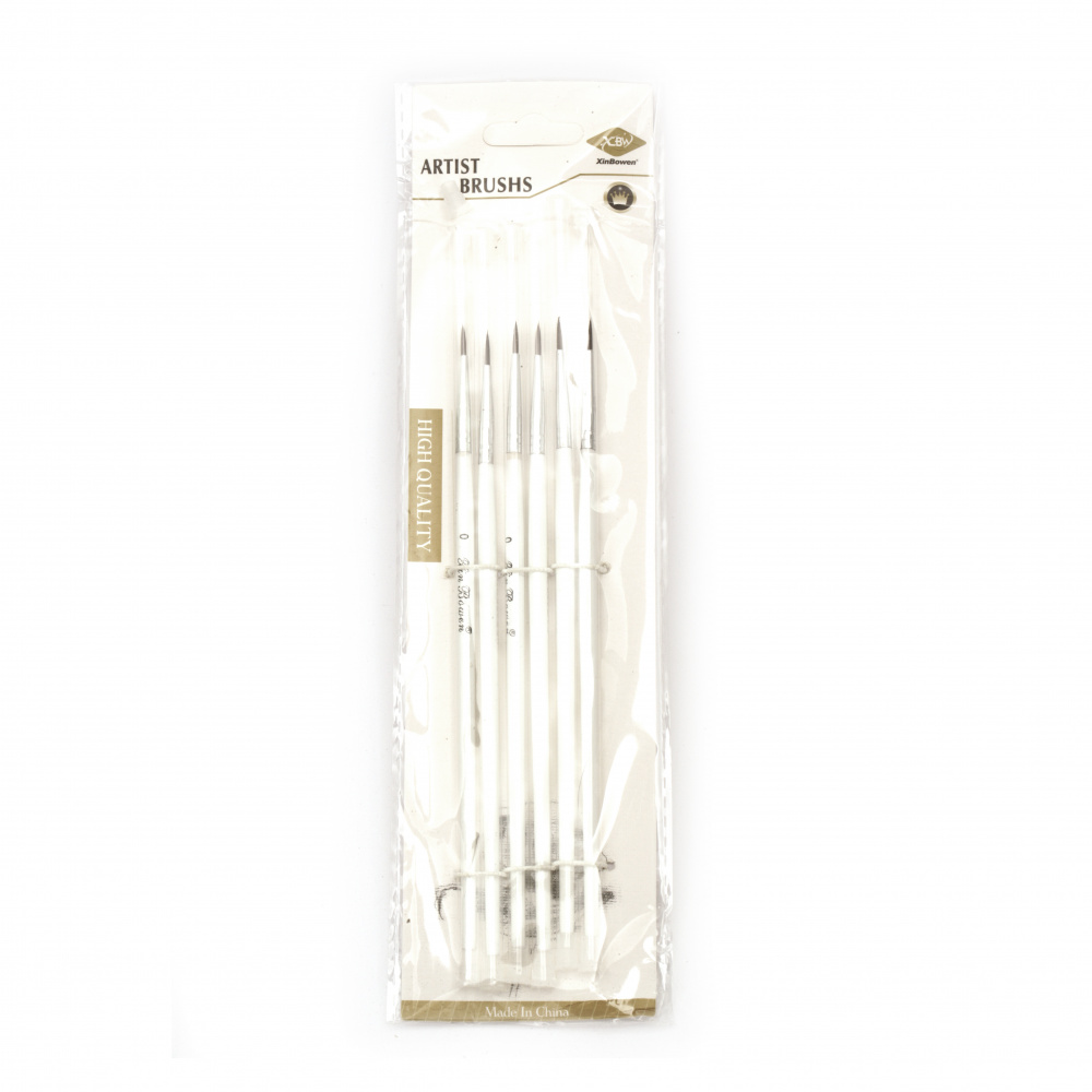 Комплект фини четки от синтетични влакна -6 броя № 000