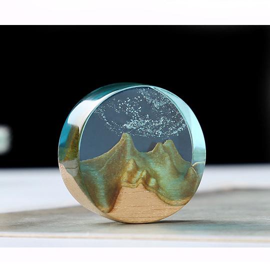 Планински връх / симулирана планинска форма от масивно тиково дърво за вграждане в епоксидна смола 35x10~22x15 мм