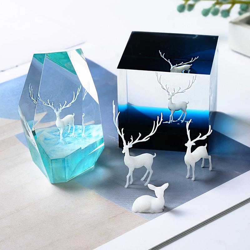 3D фигурка елен / триизмерен микро-пейзажен аксесоар за вграждане в епоксидна смола 16 мм