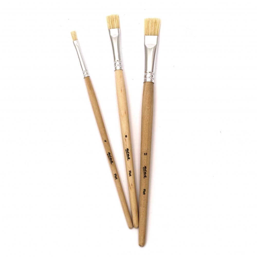 Комплект четки естествен косъм плоски MM Brush 3 броя