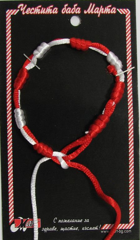 Brățară fitil alb și roșu