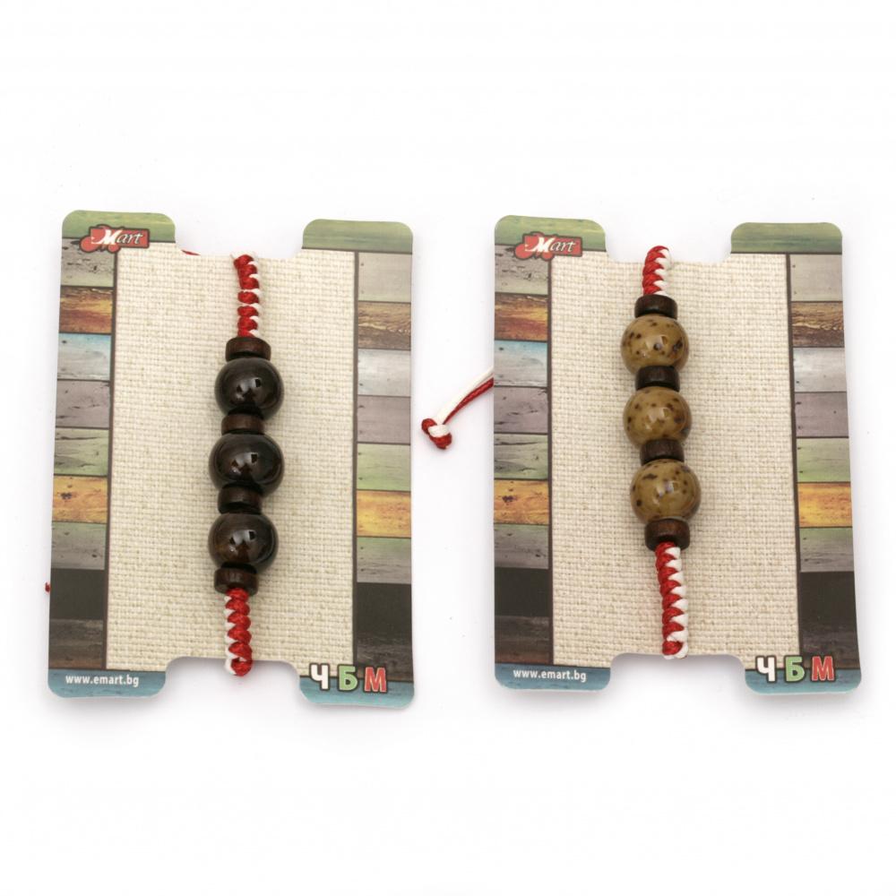 Мартеница гривна с естествени камъни и дървена мъниста