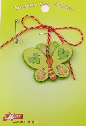 Fluture Martisor din pâslă și lemn 10 bucăți