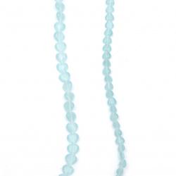 Наниз мъниста стъкло котешко око сърце 4~8x4~8x3~4 мм дупка 1 мм синьо ~50 броя