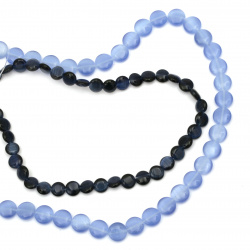 Glass Beads cat's eye coin 8 ~ 10 mm hole 1 mm blue -40 ~ 50 pieces