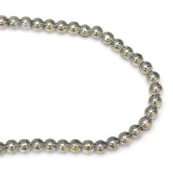 Glass beads strands for jewelry making, gray ball 10 mm hole 1.5 mm galvanized ~ 82 pieces