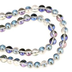 Glass Beads Strand, Round, Grey and Blue, 10mm, hole 1mm, ~80 pcs