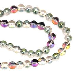 Glass Beads Strand, Round, Colorful, 8mm, hole 1mm, ~102 pcs