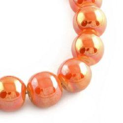 Наниз мъниста стъкло топче 8 мм дупка 1.5 мм галванизирано оранжево-червено ~84 броя