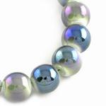 Наниз мъниста стъкло топче 8 мм дупка 1.5 мм галванизирано дъга графит ~84 броя