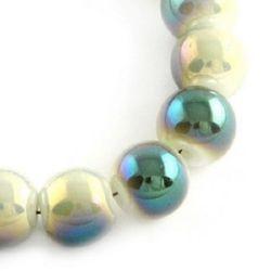 Наниз мъниста стъкло топче 8 мм дупка 1.5 мм галванизирано зелено ~84 броя