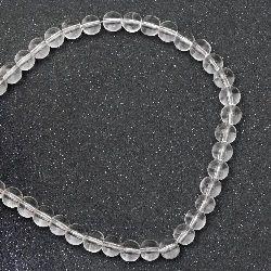 Наниз мъниста стъкло топче 6 мм дупка 0.5 мм прозрачно ~52 броя