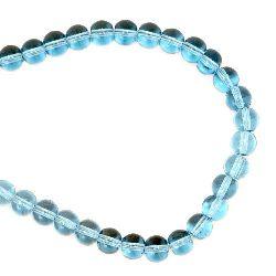 Șireturi margele sticlă margele de 6 mm gaură 0,5 mm transparent albastru deschis ~ 52 bucăți