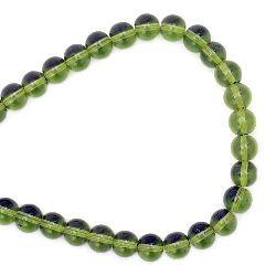 Наниз мъниста стъкло топче 8 мм дупка 1 мм прозрачно зелено светло ~42 броя