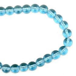 Наниз мъниста стъкло топче 8 мм дупка 1 мм прозрачно синьо светло ~42 броя